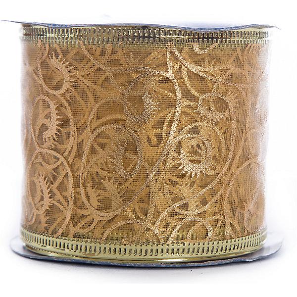 Новогодняя лента Золотые узоры из полиэстера на картонной катушке, 76227