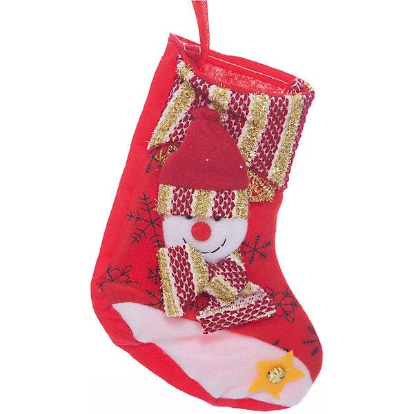 Украшение новогоднее подвесное Снеговик Красно-золотой арт.42516 из полиэстраНовогодние носки<br><br>Ширина мм: 200; Глубина мм: 110; Высота мм: 10; Вес г: 24; Возраст от месяцев: 24; Возраст до месяцев: 2147483647; Пол: Унисекс; Возраст: Детский; SKU: 7129093;