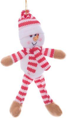 Magic Time Украшение новогоднее подвесное Снеговик полосатый арт.42522 из полиэстра