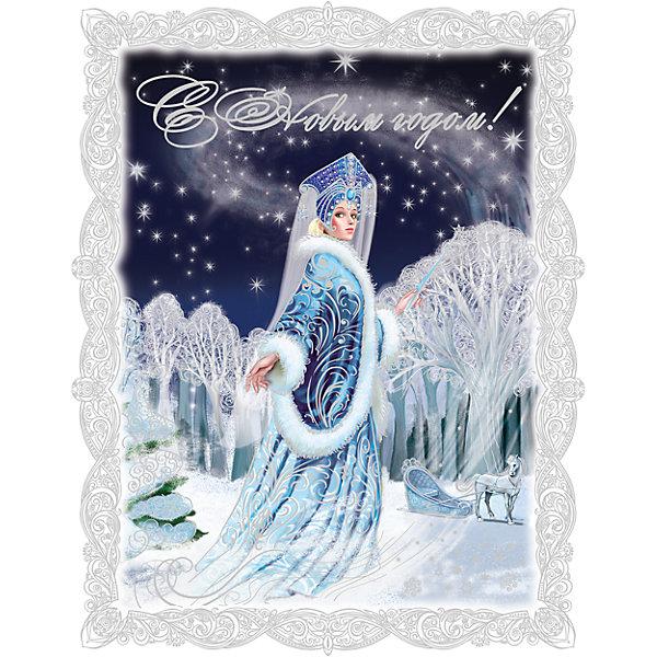 Новогоднее оконное украшение  декорировано глиттером; крепится к гладкой поверхности стекла