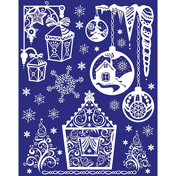 Новогоднее оконное украшениеНовогодние наклейки на окна<br><br><br>Ширина мм: 440<br>Глубина мм: 300<br>Высота мм: 1<br>Вес г: 75<br>Возраст от месяцев: 24<br>Возраст до месяцев: 2147483647<br>Пол: Унисекс<br>Возраст: Детский<br>SKU: 7129106