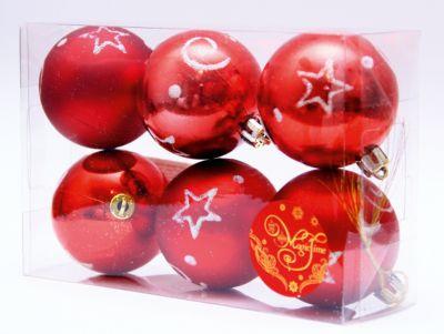 Magic Time Новогоднее подвесн. украш. шар Красный со звездами арт.35503