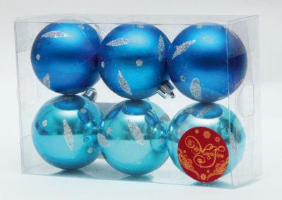 Magic Time Новогоднее подвесн. украш. шар Ассорти голубое и синее арт.35535
