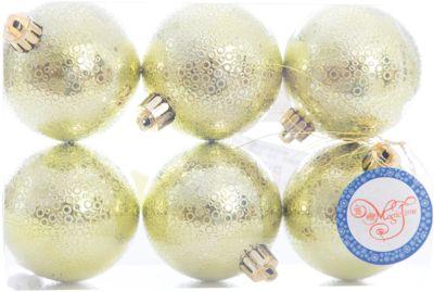 Magic Time Новогоднее подвесное украшение Шар Мерцание лаймовый из полистирола. Набор из 6 шт., 76038 фото-1