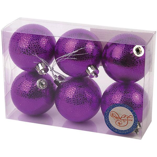 Новогоднее подвесное украшение Шар Мерцание фиолетовый из полистирола. Набор из 6 шт., 76041Новинки Новый Год<br><br><br>Ширина мм: 120<br>Глубина мм: 170<br>Высота мм: 60<br>Вес г: 71<br>Возраст от месяцев: 24<br>Возраст до месяцев: 2147483647<br>Пол: Унисекс<br>Возраст: Детский<br>SKU: 7129144