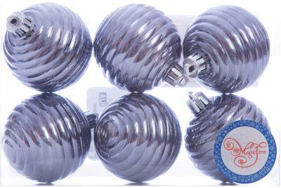 Magic Time Новогоднее подвесное украшение Шар Улей серый из полистирола. Набор из 6 шт., 76044