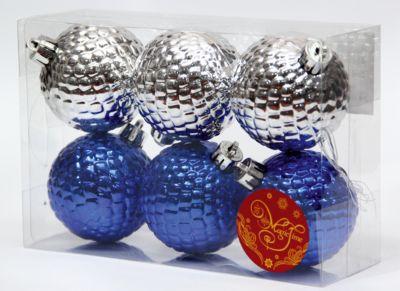 Magic Time Новогоднее подвесное украшение Ассорти Шары синие и серебряные из полистирола. Набор из 6 шт.