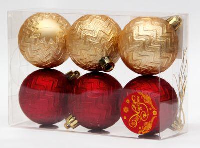 Magic Time Новогоднее подвесное украшение Ассорти Шары красные и золотые из полистирола. Набор из 6 шт.