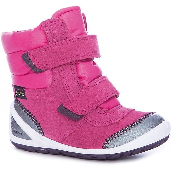 Ботинки ECCO для девочкиОбувь для малышей<br>Характеристики товара:<br><br>• цвет: розовый<br>• внешний материал: замша, текстиль<br>• внутренний материал: текстиль<br>• стелька: текстиль<br>• подошва: полимер<br>• сезон: демисезон<br>• мембранные<br>• температурный режим: от -10 до +10<br>• особенности модели: спортивный стиль<br>• застежка: липучки<br>• защита мыса <br>• подошва не скользит<br>• анатомические<br>• высокие<br>• страна бренда: Дания<br>• страна изготовитель: Китай<br><br>Теплые ботинки для детей от бренда ECCO быстро надеваются благодаря удобной форме и застежкам-липучкам. Оригинальные мембранные ботинки ECCO не скользят благодаря специально разработанному дизайну подошвы. Яркие детские ботинки из-за наличия мембраны Gore-Tex не пропускают влагу, но позволяют коже дышать. <br><br>Ботинки ECCO (ЭККО) можно купить в нашем интернет-магазине.<br>Ширина мм: 262; Глубина мм: 176; Высота мм: 97; Вес г: 427; Цвет: серебряный; Возраст от месяцев: 24; Возраст до месяцев: 36; Пол: Женский; Возраст: Детский; Размер: 26,22,23,24,25; SKU: 7130057;