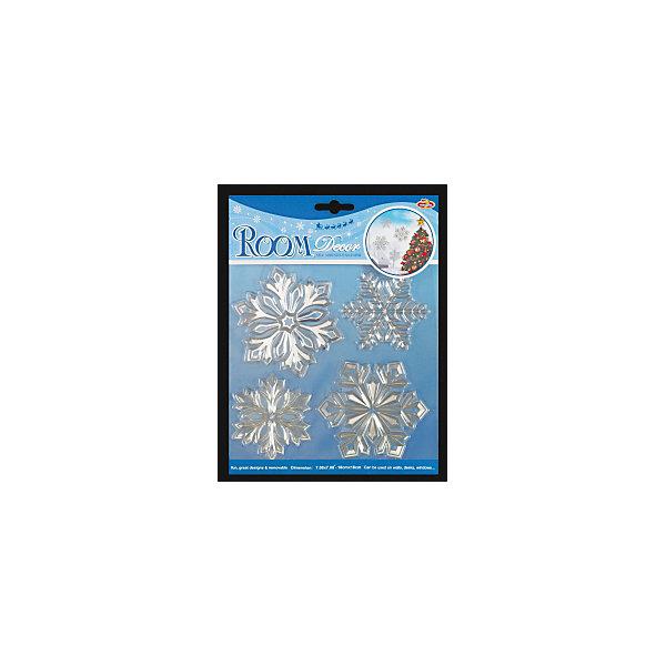 Набор декоративных наклеек ErichKrause Серебряные снежинкиНовогодние наклейки на окна<br>Характеристики:<br><br>• количество наклеек: 4 шт.<br>• размер: от 8 до 10 см.<br>• материал: ПВХ<br>• упаковка: картонная подложка с европодвесом в полибэге высокого качества<br>• размер упаковки: 24х18,4 см.<br><br>Набор наклеек «Серебряные снежинки» от ErichKrause (ЭрихКраузе) прекрасно подойдет для оформления праздничного интерьера. Наклейками можно украсить стены, окна, зеркала, двери и мебель. Наклейки быстро крепятся и легко снимаются, не оставляя следов. Наклейки отличаются металлическим блеском рельефной поверхностью.<br><br>Набор наклеек СЕРЕБРЯНЫЕ СНЕЖИНКИ 24х18.4см можно купить в нашем интернет-магазине.<br>Ширина мм: 230; Глубина мм: 2; Высота мм: 185; Вес г: 30; Возраст от месяцев: -2147483648; Возраст до месяцев: 2147483647; Пол: Унисекс; Возраст: Детский; SKU: 7132371;