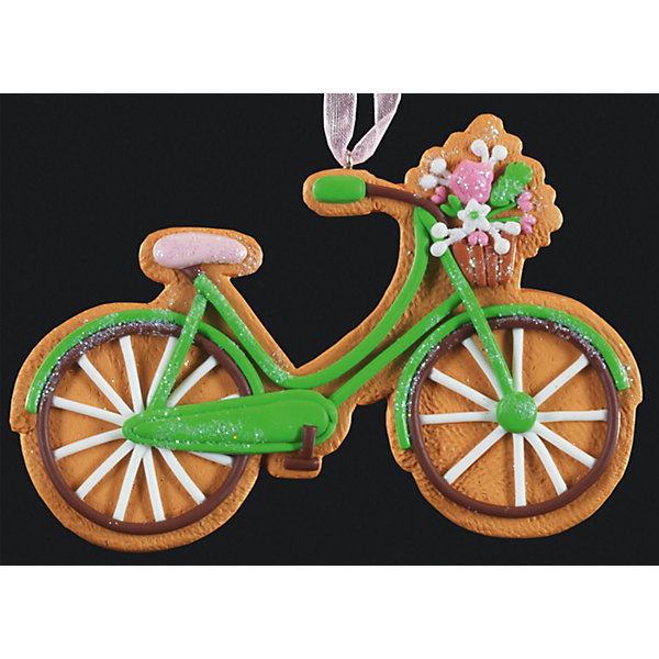 Украшение на елку ErichKrause Пряничный велосипед, 11 смЁлочные игрушки<br>Характеристики:<br><br>• размер: 11 см.<br>• вес: 40 гр.<br>• материал: глина<br><br>Очаровательное украшение в виде велосипеда напоминает пряник, покрытый глазурью. С помощью специальной петли украшение можно подвесить в любом понравившемся месте. Но, конечно же, удачнее всего такая игрушка будет смотреться на праздничной елке.<br><br>Изделие выполнено из глины и требует бережного отношения.<br><br>Украшение ПРЯНИЧНЫЙ ВЕЛОСИПЕД 11см можно купить в нашем интернет-магазине.<br>Ширина мм: 110; Глубина мм: 5; Высота мм: 70; Вес г: 40; Возраст от месяцев: -2147483648; Возраст до месяцев: 2147483647; Пол: Унисекс; Возраст: Детский; SKU: 7132422;