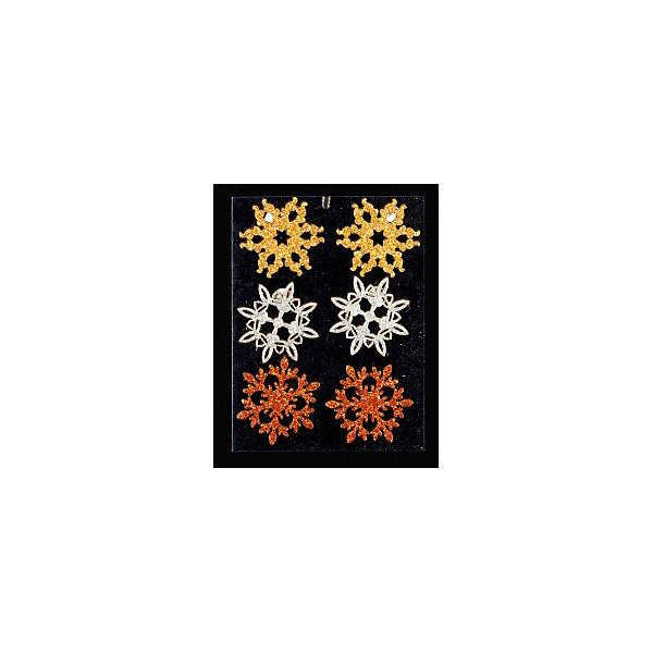 Набор украшений на елку ErichKrause Драгоценная снежинка на липучке, 4 см 6 штукЁлочные игрушки<br>Характеристики:<br><br>• в наборе: 6 снежинок на липучках<br>• диаметр: 4 см.<br>• упаковка: хедер с европодвесом, подложка в полибеге<br><br>Набор состоит из шести снежинок трех разных цветов. Снежинки покрыты сверкающими блестками. Благодаря наличию липучки с тыльной стороны, изделия легко отлепляются от подложки и приклеиваются на любую поверхность.<br><br>Набор предназначен для творческих работ ребенка. С его помощью можно легко украсить открытки, подарки, а также оформить детский уголок, привнеся в него новогоднюю атмосферу.<br><br>Набор 6 драгоценных снежинок на липучке 4 см можно купить в нашем интернет-магазине.<br>Ширина мм: 120; Глубина мм: 5; Высота мм: 170; Вес г: 20; Возраст от месяцев: -2147483648; Возраст до месяцев: 2147483647; Пол: Унисекс; Возраст: Детский; SKU: 7132438;