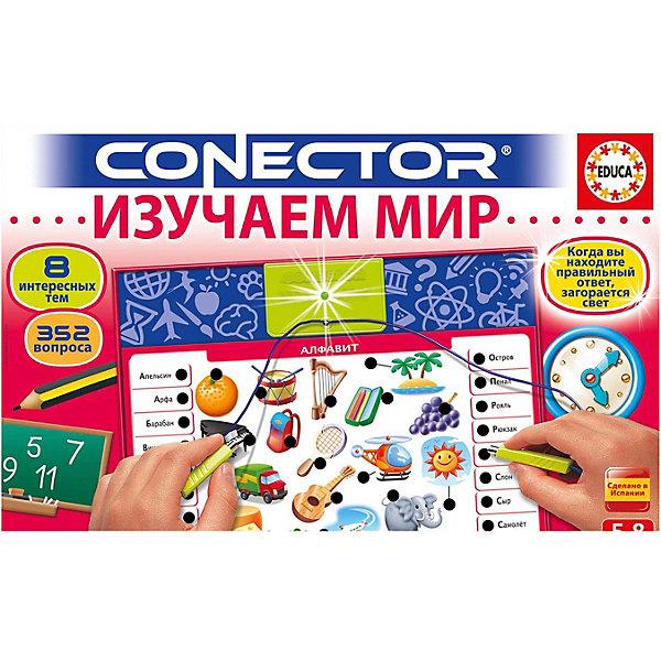 Электровикторина, Изучаем мир, EducaВикторины и ребусы<br>CONECTOR - это игра в вопросы и ответы, которая поможет детям открыть и узнать много нового в различных областях знаний. Вопросы по каждой теме были разработаны коллективом педагогов и преподавателей с учётом возраста ребёнка.<br>CONECTOR имеет электронную схему, позволяющую соединять вопросы с ответами. Положение правильных ответов на всех карточках разное, так что ребёнок должен руководствоваться только своими знаниями и не можем пользоваться уловками.<br>- 8 иллюстрированных карточек, содержащих 352 вопроса<br>- электронная схема для самопроверки<br>Игра работает на 2 батарейках LR6 по 1,5 В (в комплект не входят).<br>Ширина мм: 385; Глубина мм: 55; Высота мм: 255; Вес г: 502; Возраст от месяцев: 60; Возраст до месяцев: 96; Пол: Унисекс; Возраст: Детский; SKU: 7133180;