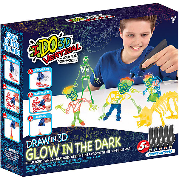 Набор 3D-ручек Redwood Вертикаль. Магия света Зомби (светится в темноте)Наборы 3D ручек<br>Характеристики товара:<br><br>• в комплекте: 5 ручек, трафареты, насадка-подсветка, инструкция;<br>• цвета: желтый, зеленый, оранжевый, синий, красный;<br>• возраст: от 8 лет;<br>• материал: пластик, металл;<br>• батарейки: LR44 - 3 шт. (входят в комплект);<br>• размер упаковки: 33х7,6х31 см;<br>• вес: 600 грамм;<br>• страна бренда: США.<br><br>«Вертикаль: Магия света» - удивительный набор 3D ручек, с помощью которого ребенок сможет создать фигурки зомби, которые, к тому же, будут устрашающе светиться в темноте. В комплект входят 5 ручек разных цветов, трафареты на тему зомби, насадка с подсветкой. Ручки не имеет проводов, не нагреваются во время работы, что обеспечивает безопасность ребенка во время игры. Набор рекомендован детям от восьми лет.<br><br>Мягкий картиридж ручки заполнен жидким полимером. Для его затвердевания необходима насадка, входящая в комплект. Ребенок сможет самостоятельно использовать насадку, держа ручку в одной руке, а насадку в другой. При необходимости можно воспользоваться помощью родителей. Рисование возможно в двух вариантах: рисование в воздухе с использованием насадки, рисование отдельных элементов с их последующим соединением. Толщина линии регулируется нажатием на стенки картриджа.<br><br>3D ручку «Вертикаль: Магия света», Redwood 3D (Редвуд 3Д) можно купить в нашем интернет-магазине.<br><br>Ширина мм: 310<br>Глубина мм: 76<br>Высота мм: 330<br>Вес г: 600<br>Возраст от месяцев: 96<br>Возраст до месяцев: 2147483647<br>Пол: Унисекс<br>Возраст: Детский<br>SKU: 7133319