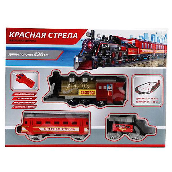 Радиоуправляемая железная дорога Играем вместе Красная стрела, со светом и звукомЖелезные дороги<br>Характеристики:<br><br>• возраст: от 3 лет;<br>• тип игрушки: железная дорога;<br>• цвет: серый, красный, черный;<br>• материал: пластмасса, металл;<br>• особенности: на радиоуправлении;<br>• размер: 44х7х32 см;<br>• вес: 1,07кг;<br>• страна производитель: Россия;<br>• тип батареек: АА;<br>• наличие батареек: не входят в комплект. <br><br>Железная дорога «Красная стрела», р/у,со светом и звуком  - отличный набор  в подарок мальчику от трех лет. Большой поезд является уменьшенной копией реального железнодорожного состава и может управляться при помощи пульта. <br><br>Поезд с надписью «Экспресс» состоит из локомотива и вагонов, издает звук приближающегося состава и имеет горящий прожектор. С несложным принципом радиоуправления справится любой ребенок, а интересные звуковые и световые эффекты добавят игре реалистичность. Очень похожий на настоящий состав поезд  имеет длину рельсового полотна 420 см. <br><br>Следует использовать батарейки типа АА, они приобретаются отдельно. Этот замечательный поезд отлично пополнит коллекцию игрушек мальчика, а игра с ним подарит ребенку массу положительных эмоций. Железную  дорогу «Красная стрела», р/у,  со светом и звуком можно купить в нашем интернет-магазине.<br><br>Ширина мм: 440<br>Глубина мм: 320<br>Высота мм: 70<br>Вес г: 1070<br>Возраст от месяцев: 36<br>Возраст до месяцев: 84<br>Пол: Мужской<br>Возраст: Детский<br>SKU: 7134879