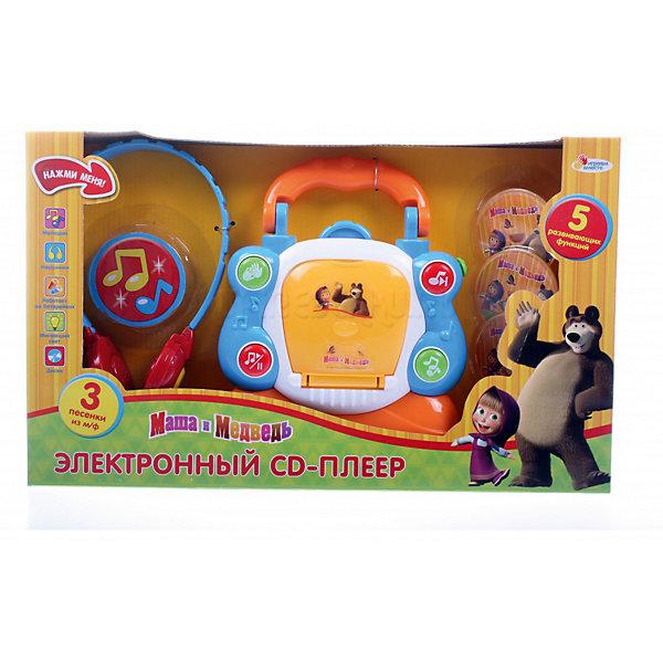 Электронный CD-плеер Играем вместе Маша и Медведь, со светом и звукомДругие музыкальные инструменты<br>Характеристики:<br><br>• возраст: от 3 лет;<br>• тип игрушки: CD-плеер;<br>• цвет:оранжевый, голубой;<br>• материал: пластик;<br>• размер: 36х6х22 см;<br>• вес: 490 гр;<br>• комплект: плеер, диски, наушники;<br> • тип батареек: АА;<br>• наличие батареек: входят в комплект.<br>• страна производитель: Россия.<br><br>Игрушка электронный CD-плеер «Маша и Медведь» со светом и звуком – это очень полезная музыкальная игрушка, которая подходит для детей от 3 лет. У нее пять развивающих функций, не остающихся без внимания ребенка.  Играя,  малыш будет развивать фантазию и любовь к музыке.<br><br>В комплекте имеются наушники и 3 диска. На дисках записаны три песенки из мультфильма «Маша и медведь», но также и в самом плеере есть уже встроенные мелодии. Во время проигрывания музыки мигает свет, привлекая внимания ребенка. Разноцветные кнопки на плеере помогают не запутаться. Красные – мелодия и пауза. Зеленые – аплодисменты и песни.<br><br>Игрушку электронный CD-плеер «Маша и Медведь» со светом и звуком можно купить в нашем интернет-магазине.<br>Ширина мм: 360; Глубина мм: 60; Высота мм: 220; Вес г: 490; Возраст от месяцев: 36; Возраст до месяцев: 84; Пол: Унисекс; Возраст: Детский; SKU: 7134883;