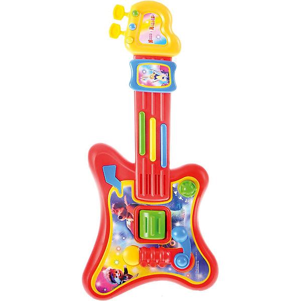 Электрогитара Играем вместе Маша и Медведь, 5 песен, светГитары<br>Детская электрогитара Маша и Медведь - это развивающая музыкальная игра. Яркий дизайн и изображения главных героев одноименного мультфильма порадуют маленьких поклонников. Корпус игрушки выполнен из легкого пластика, гитару удобно держать в детских ручках. Нажимая на разноцветные кнопочки ребенок сможет прослушать 5 песенок из мультфильма Маша и Медведь, и даже подпеть им представив себя в роли настоящего гитариста выступающего на сцене. Детская электрогитара Маша и Медведь тренирует мелкую моторику пальчиков, развивает слух, память ребенка. Имеет световые эффекты. Сделана из прочного высококачественного безопасного пластика. Рекомендовано детям от 3-х лет. Работает при помощи 3 батареек типа АА (не входят в комплект).<br><br>Ширина мм: 410<br>Глубина мм: 50<br>Высота мм: 210<br>Вес г: 550<br>Возраст от месяцев: 36<br>Возраст до месяцев: 84<br>Пол: Унисекс<br>Возраст: Детский<br>SKU: 7134885