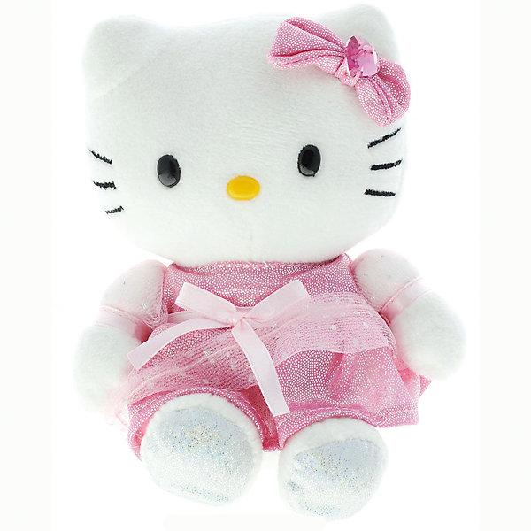 Мягкая игрушка Мульти-Пульти Hello Kitty, 15 см звукМузыкальные мягкие игрушки<br>Характеристики:<br><br>• возраст: от 3 лет;<br>• тип игрушки: мягкая игрушка;<br>• цвет: белый, розовый;<br>• материал: плюш, текстиль, пластик;<br>• высота игрушки: 15 см;<br>• размер: 13х19х16 см;<br>• вес: 80 гр; <br>• тип батареек: АА;<br>• наличие батареек: входят в комплект.<br>• страна производитель: Россия.<br><br>Мягкая игрушка « Hello kitty» озвученная, 6 фраз – это отличный подарок для девочек, поклонниц одного из самого популярного в мире персонажа.  Мягкая игрушка от компании «Мульти-Пульти» умеет произносить 6 фраз, нажмите ей на животик, она познакомится с вами и расскажет о себе. Одета кошечка очень нарядно: праздничное розовое платьице и бантик на голове – точь-в-точь как в мультике! Сходство с персонажем не оставит равнодушным никого.<br><br>Игрушка озвучена профессиональными актерами, а значит можно быть увереным, что ребенок запомнит правильное произношение слов. Развивает фантазию, и тактильное восприятие. Кошечка очень мягкая на ощупь, сделана из нетоксичных материалов. <br><br>Мягкую игрушку « Hello kitty» озвученную, можно купить в нашем интернет-магазине.<br><br>Ширина мм: 130<br>Глубина мм: 90<br>Высота мм: 160<br>Вес г: 80<br>Возраст от месяцев: 36<br>Возраст до месяцев: 84<br>Пол: Женский<br>Возраст: Детский<br>SKU: 7134894