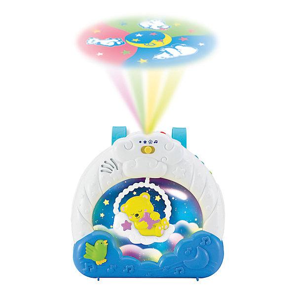 Ночник-проектор Умка с пультом д/у, светом и звукомДетские предметы интерьера<br>Характеристики:<br><br>• возраст: от 3 лет;<br>• тип игрушки: ночник;<br>• цвет: белый, голубой;<br>• материал: пластик;<br>• размер: 28х7х33 см;<br>• вес: 950  гр; <br>• тип батареек: АА;<br>• наличие батареек: входят в комплект.<br>• страна производитель: Россия.<br><br>Ночник-проектор с пульт д/у, светом и звуком  с помощью приятных колыбельных (19 популярных колыбельных и мелодий), звуков природы и мягкого света убаюкает  малыша без посторонней помощи. Проектор маленький, поэтому его можно брать с собой. Настоящий помощник имеет дистанционное управление при помощи пульта. <br><br>Красочная проекция на потолке движется по кругу, привлекая внимание, успокаивая и завораживая ребенка. В ночнике предусмотрена возможность установить таймер на 5,10,15 минут и выбрать режим работы - ночник с музыкой, звуками природы и проекцией; ночник-проектор; ночник с музыкой. Благодаря приглушенному свету ребенку будет спокойно спать. <br><br>Ночник-проектор с пульт д/у, светом и звуком можно купить в нашем интернет-магазине.<br>Ширина мм: 280; Глубина мм: 70; Высота мм: 330; Вес г: 950; Возраст от месяцев: 3; Возраст до месяцев: 60; Пол: Унисекс; Возраст: Детский; SKU: 7134896;