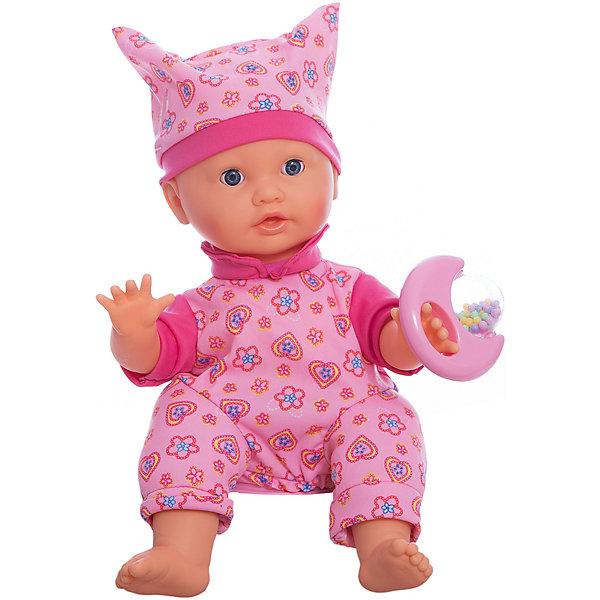Интерактивный пупс Карапуз, 40 смКуклы<br>Характеристики:<br><br>• возраст: от 3 лет;<br>• тип игрушки: пупс;<br>• материал: пластик, текстиль;<br>• высота куклы: 40 см;<br>• размер: 33х19х24 см;<br>• вес: 1,18 кг; <br>• комплект: пупс, комплект одежды, погремушка;<br>• страна производитель: Китай.<br><br>Пупс 40 см - очаровательный интерактивный малыш с пухлыми щечками, который поет песенки, смеется, танцует, реагирует на погремушку. Этот очаровательный малыш обязательно понравится каждой девочке, ведь играть с музыкальным пупсиком - одно удовольствие. Набор с очаровательным пупсом идеально подходит для игр в дочки-матери.  Вместе с пупсом девочки могут спеть песенки: «Облака - белогривые лошадки», «Улыбка» и «Если с другом вышел в путь!». <br><br>Пупс одет в яркий комбинезон и шапочку с ушками.  Девочки с удовольствием будут придумывать интересные игровые сюжеты с таким пупсом и весело проводить свое свободное время. Пупс позволит научиться обращаться с малышами. <br><br>Пупса 40 см  можно купить в нашем интернет-магазине.<br><br>Ширина мм: 330<br>Глубина мм: 190<br>Высота мм: 240<br>Вес г: 1180<br>Возраст от месяцев: 36<br>Возраст до месяцев: 84<br>Пол: Женский<br>Возраст: Детский<br>SKU: 7134902