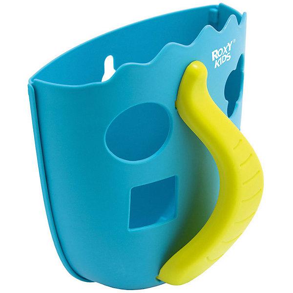Органайзер для игрушек в ванную Roxy-Kids Dino, голубойСетки для игрушек в ванну<br>Характеристики товара:<br><br>• органайзер для хранения игрушек;<br>• ковшеобразная конструкция;<br>• органайзер оснащен ручкой;<br>• отверстия для слива;<br>• игрушки, которые находятся в органайзере, удобно мыть под краном;<br>• функция сортера: отверстия геометрической формы, в комплекте 4 фигурки;<br>• способ крепления: присоски;<br>• материал: полипропилен;<br>• размер упаковки: 22х19х14 см;<br>• вес: 286 г.<br><br>Органайзер для игрушек в ванную Roxy-Kids Dino, мятный можно купить в нашем интернет-магазине.<br><br>Ширина мм: 220<br>Глубина мм: 190<br>Высота мм: 140<br>Вес г: 286<br>Цвет: мятный<br>Возраст от месяцев: 0<br>Возраст до месяцев: 12<br>Пол: Унисекс<br>Возраст: Детский<br>SKU: 7136443