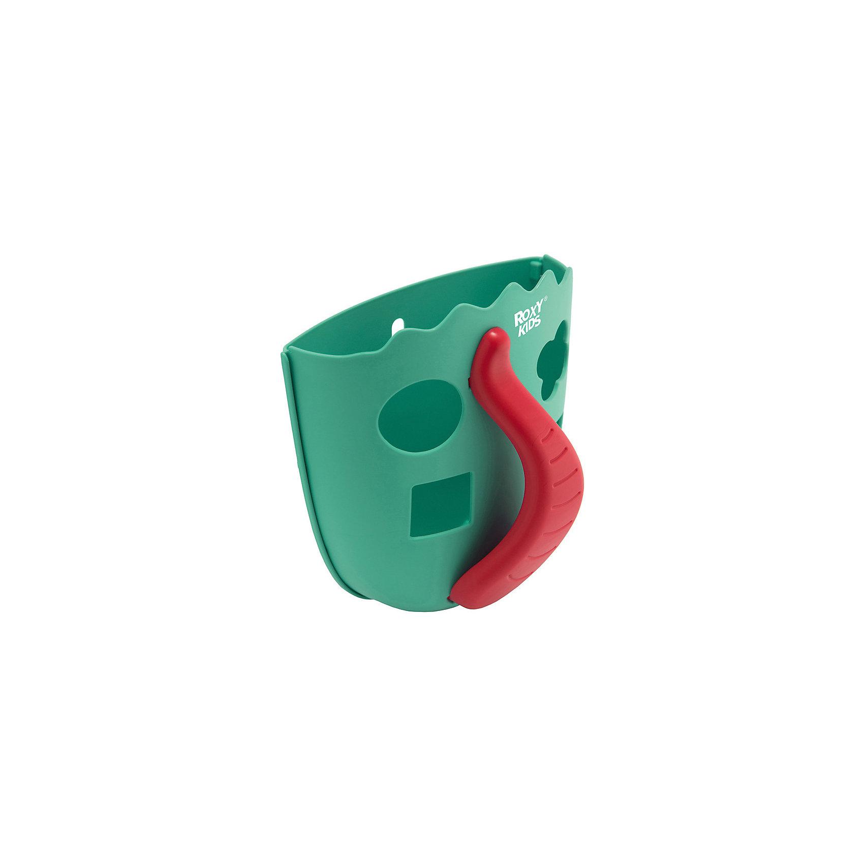 Органайзер для игрушек в ванную Roxy-Kids Dino, мятныйСетки для игрушек в ванну<br>Характеристики товара:<br><br>• органайзер для хранения игрушек;<br>• ковшеобразная конструкция;<br>• органайзер оснащен ручкой;<br>• отверстия для слива;<br>• игрушки, которые находятся в органайзере, удобно мыть под краном;<br>• функция сортера: отверстия геометрической формы, в комплекте 4 фигурки;<br>• способ крепления: присоски;<br>• материал: полипропилен;<br>• размер упаковки: 22х19х14 см;<br>• вес: 286 г.<br><br>Органайзер для игрушек в ванную Roxy-Kids Dino, голубой можно купить в нашем интернет-магазине.<br><br>Ширина мм: 220<br>Глубина мм: 190<br>Высота мм: 140<br>Вес г: 286<br>Цвет: голубой<br>Возраст от месяцев: 0<br>Возраст до месяцев: 12<br>Пол: Унисекс<br>Возраст: Детский<br>SKU: 7136445
