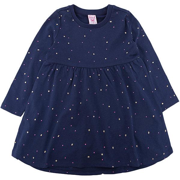Платье SELA для девочкиПлатья и сарафаны<br>Характеристики товара:<br><br>• цвет: синий<br>• состав ткани: 100% хлопок<br>• сезон: демисезон<br>• длинные рукава<br>• страна бренда: Россия<br>• страна производства: Китай<br><br>Полуприлегающее платье для девочки от Sela - стильная молодежная вещь по доступной цене. Модное платье для девочки поможет разнообразить гардероб ребенка. Платье для ребенка сшито из качественного материала, в составе которого только натуральный хлопок. <br><br>Платье для девочки Sela (Села) можно купить в нашем интернет- магазине.<br><br>Ширина мм: 236<br>Глубина мм: 16<br>Высота мм: 184<br>Вес г: 177<br>Цвет: синий<br>Возраст от месяцев: 36<br>Возраст до месяцев: 48<br>Пол: Женский<br>Возраст: Детский<br>Размер: 104,116,92,98,110<br>SKU: 7136712
