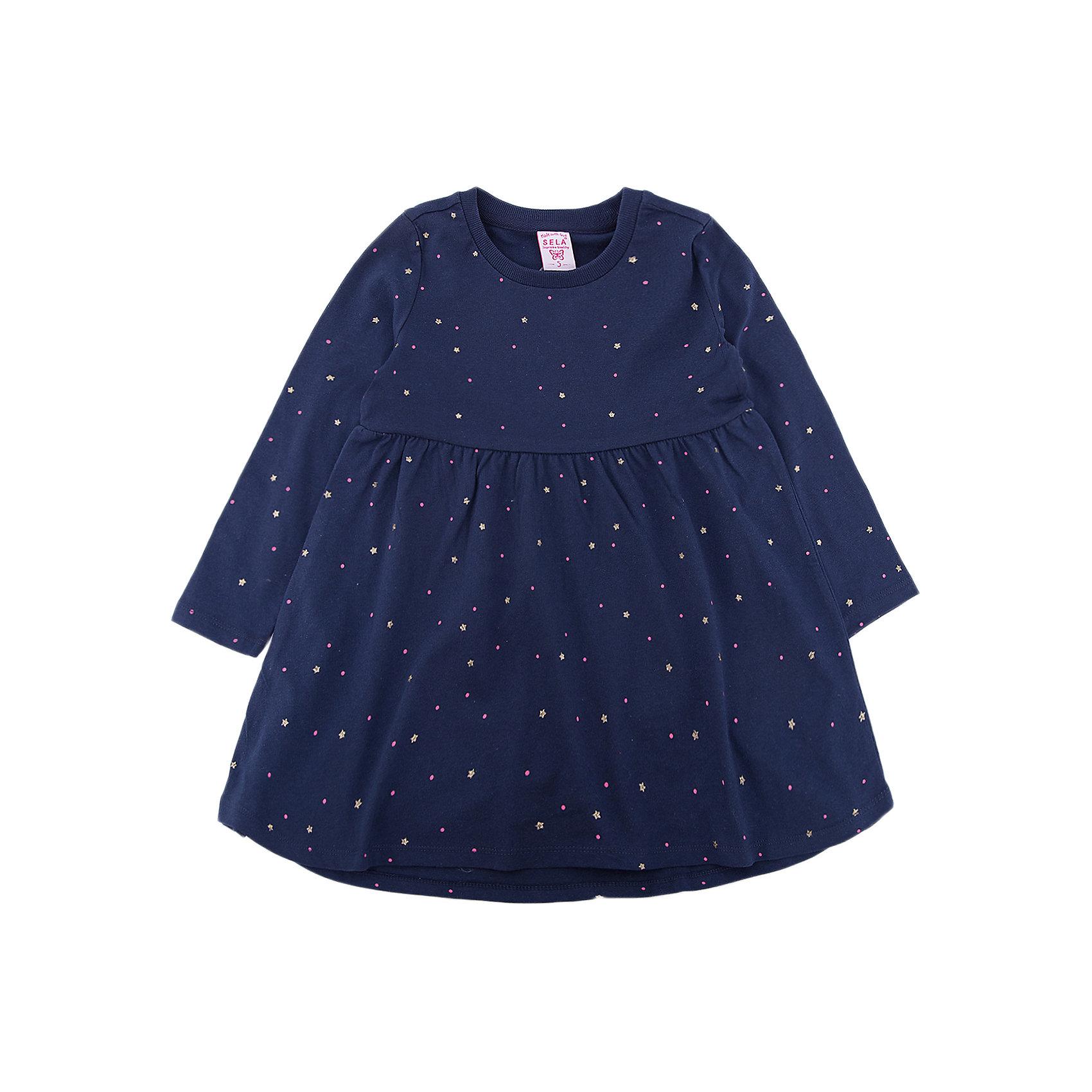 Платье SELA для девочкиПлатья и сарафаны<br>Характеристики товара:<br><br>• цвет: синий<br>• состав ткани: 100% хлопок<br>• сезон: демисезон<br>• длинные рукава<br>• страна бренда: Россия<br>• страна производства: Китай<br><br>Полуприлегающее платье для девочки от Sela - стильная молодежная вещь по доступной цене. Модное платье для девочки поможет разнообразить гардероб ребенка. Платье для ребенка сшито из качественного материала, в составе которого только натуральный хлопок. <br><br>Платье для девочки Sela (Села) можно купить в нашем интернет- магазине.<br><br>Ширина мм: 236<br>Глубина мм: 16<br>Высота мм: 184<br>Вес г: 177<br>Цвет: синий<br>Возраст от месяцев: 60<br>Возраст до месяцев: 72<br>Пол: Женский<br>Возраст: Детский<br>Размер: 116,92,98,104,110<br>SKU: 7136712