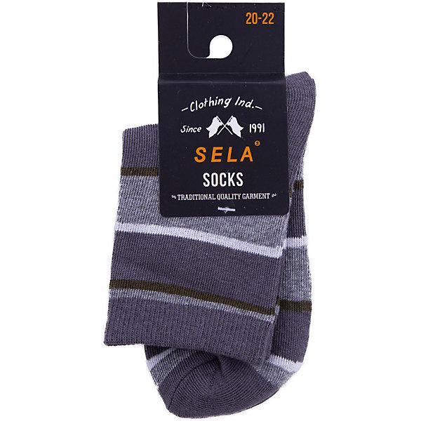 Носки SELA для мальчикаНоски<br>Характеристики товара:<br><br>• цвет: серый<br>• состав ткани: 75% хлопок, 20% нейлон, 5% эластан<br>• сезон: круглый год<br>• страна бренда: Россия<br>• страна изготовитель: Китай<br><br>Серые носки для мальчика от Sela - качественная вещь по доступной цене. Эти носки для мальчика помогут обеспечить ребенку комфорт. Носки для ребенка сделаны из мягкого трикотажа, в составе которого преимущественно натуральный хлопок. <br><br>Носки Sela (Села) для мальчика можно купить в нашем интернет- магазине.<br>Ширина мм: 87; Глубина мм: 10; Высота мм: 105; Вес г: 115; Цвет: серый; Возраст от месяцев: 15; Возраст до месяцев: 18; Пол: Мужской; Возраст: Детский; Размер: 22,16,20,18; SKU: 7137044;
