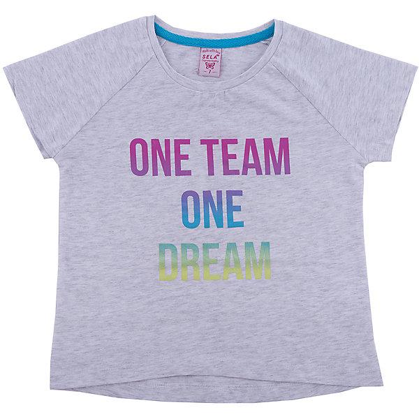 Футболка SELA для девочкиФутболки, поло и топы<br>Характеристики товара:<br><br>• цвет: серый<br>• состав ткани: 100% хлопок<br>• сезон: лето<br>• короткие рукава<br>• страна бренда: Россия<br>• страна производства: Бангладеш<br><br>Трикотажная футболка для ребенка - базовая вещь в гардеробе. Серая футболка для девочки от Sela декорирована оригинальным принтом. Хлопковая футболка для девочки поможет разнообразить гардероб ребенка. <br><br>Футболку Sela (Села) для девочки можно купить в нашем интернет- магазине.<br><br>Ширина мм: 199<br>Глубина мм: 10<br>Высота мм: 161<br>Вес г: 151<br>Цвет: серый<br>Возраст от месяцев: 72<br>Возраст до месяцев: 84<br>Пол: Женский<br>Возраст: Детский<br>Размер: 122,152,146,140,134,128<br>SKU: 7137157