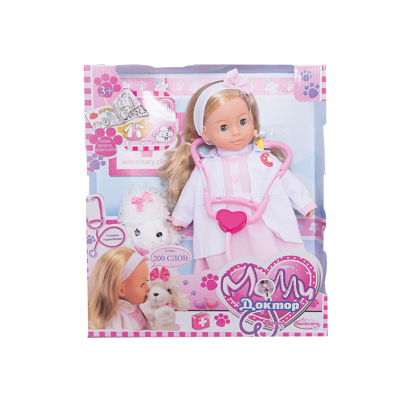 Интерактивная кукла Dimian Bambolina. Доктор Молли с собачкой, 40 смКуклы<br>Интерактивная кукла Bambolina Молли Доктор, 40 см<br><br>Кукла частично мягконабивная, конечности и голова изготовлены из ПВХ,<br>в розовом платье и в халате, имеет роскошные прочные волосы, <br>которые легко расчесываются и укладываются.<br>В наборе с собачкой,  стетоскопом  и другими аксессуарами.<br><br>Функции:<br>- кукла произносит 200 слов<br>- стетоскоп имеет мигающую подсветку и звук биения сердца.<br><br>Дополнительно:<br>Необходимы 3 батарейки типа LR44 (входят в комплект) для куклы и 2 батарейки типа LR44 для стетоскопа (входят в комплект и не подлежат замене), от 3х лет.<br>Инструкция находится внутри коробки.<br><br>Ширина мм: 380<br>Глубина мм: 130<br>Высота мм: 430<br>Вес г: 1125<br>Возраст от месяцев: 36<br>Возраст до месяцев: 144<br>Пол: Женский<br>Возраст: Детский<br>SKU: 7139059