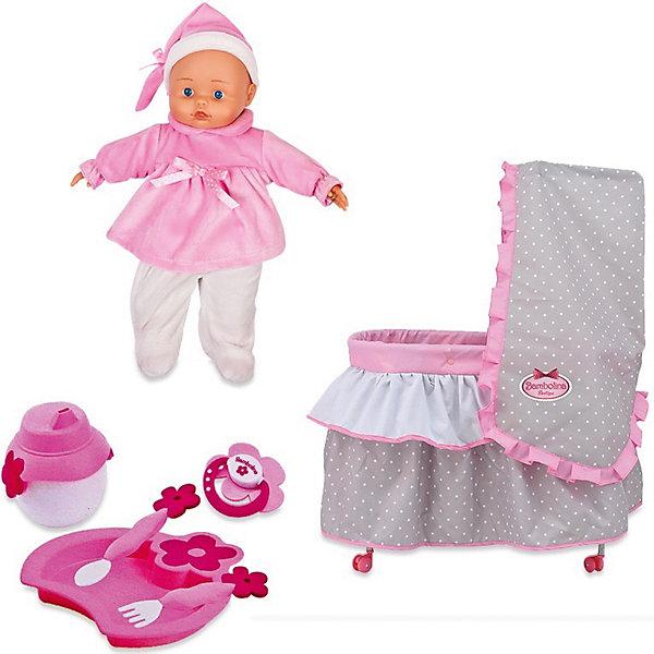 Игровой набор Dimian Bambolina Boutique. Кровать с куклой, 36 смКуклы<br>Характеристики товара: <br><br>• возраст: от 3 лет;<br>• материал: ПВХ, текстиль;<br>• в комплекте: кукла, кровать, балдахин, одеяло, подушка, аксессуары для кормления;<br>• высота куклы: 36 см;<br>• размер упаковки: 53х56х12 см;<br>• вес упаковки: 1,975 кг;<br>• страна производитель: Китай.<br><br>Набор «Кровать с куклой» Bambolina Boutique — удивительный набор, в котором есть все необходимое для игры с куклой. Кроватка, где куколка будет сладко спать, дополнена балдахином. Перед сном куколку стоит покормить при помощи бутылочки и аксессуаров. Игра с куклой привьет девочке чувство заботы, ответственности.<br><br>Набор «Кровать с куклой» Bambolina Boutique можно приобрести в нашем интернет-магазине.<br>Ширина мм: 530; Глубина мм: 120; Высота мм: 560; Вес г: 1975; Возраст от месяцев: 36; Возраст до месяцев: 144; Пол: Женский; Возраст: Детский; SKU: 7139060;