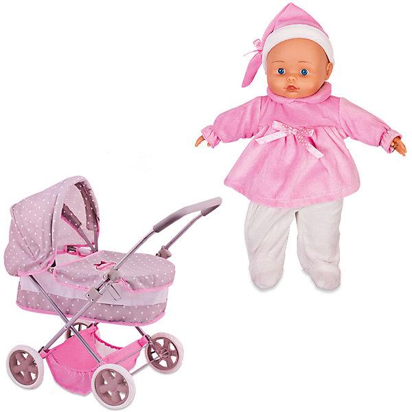 Игровой набор Dimian Bambolina Boutique. Коляска с куклой, 36 смКуклы<br>Характеристики товара: <br><br>• возраст: от 3 лет;<br>• материал: ПВХ, текстиль;<br>• в комплекте: кукла, коляска;<br>• высота куклы: 36 см;<br>• размер коляски: 59х58х36,5 см;<br>• размер упаковки: 58х56,5х11 см;<br>• вес упаковки: 3,5 кг;<br>• страна производитель: Китай.<br><br>Набор «Коляска с куклой» Bambolina Boutique включает в себя новорожденного пупса и коляску. Коляска выполнен в виде люльки для новорожденного, оснащена капюшоном, накидкой, удобной ручкой, корзинкой для вещей и игрушек, вращающимися колесами. С ее помощью можно вывозить пупса на прогулку. Игрушка выполнена из качественных безопасных материалов.<br><br>Набор «Коляска с куклой» Bambolina Boutique можно приобрести в нашем интернет-магазине.<br>Ширина мм: 580; Глубина мм: 110; Высота мм: 565; Вес г: 3500; Возраст от месяцев: 36; Возраст до месяцев: 144; Пол: Женский; Возраст: Детский; SKU: 7139061;