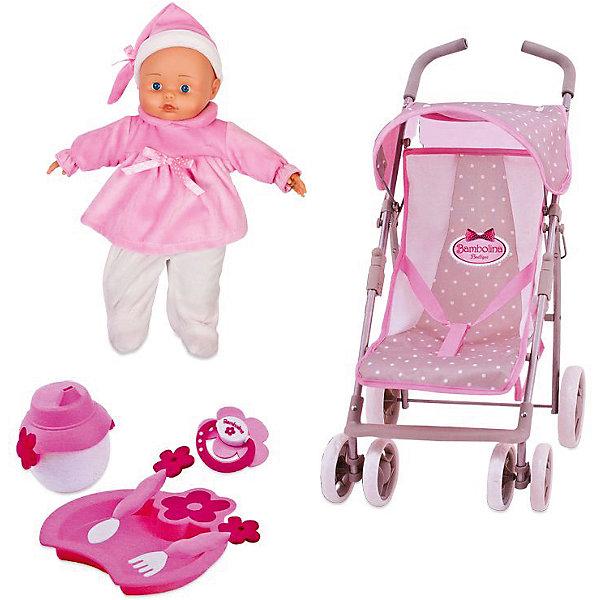 Игровой набор Dimian Bambolina Boutique. Прогулочная коляска с куклой, 36 смКуклы<br>Характеристики товара: <br><br>• возраст: от 3 лет;<br>• материал: ПВХ, текстиль, пластик, металл;<br>• в комплекте: кукла, коляска, сумка, аксессуары;<br>• высота куклы: 36 см;<br>• размер упаковки: 53х56х12 см;<br>• вес упаковки: 1,975 кг;<br>• страна производитель: Китай.<br><br>Набор «Коляска для куклы с сумкой» Bambolina Boutique включает в себя куклу, коляску, сумку и аксессуары для кормления пупса. Коляска выполнена в виде прогулочной коляски-трости. Она оснащена козырьком, ремнем безопасности, передними поворотными колесами. В ней можно вывозить куколку на прогулку. А удобная сумочка позволит брать с собой все необходимые вещи и аксессуары по уходу за пупсом.<br><br>Набор «Коляска для куклы с сумкой» Bambolina Boutique можно приобрести в нашем интернет-магазине.<br><br>Ширина мм: 365<br>Глубина мм: 145<br>Высота мм: 445<br>Вес г: 2175<br>Возраст от месяцев: 36<br>Возраст до месяцев: 144<br>Пол: Женский<br>Возраст: Детский<br>SKU: 7139062