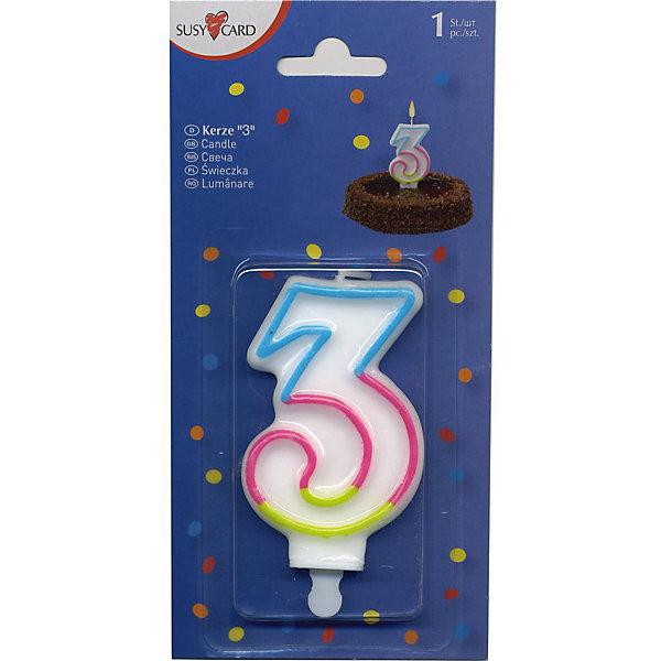 Свеча-цифра 3, 1 шт.Детские свечи для торта<br>Свеча-цифра для торта Susy Card   в виде цифры 1. Изготовлена из высококачественного парафина .Предназначена для декорирования торта к празднику. Можно комбинировать с другими цифрами. Изделие хорошо и долго горит.<br>Ширина мм: 10; Глубина мм: 45; Высота мм: 75; Вес г: 28; Возраст от месяцев: 36; Возраст до месяцев: 2147483647; Пол: Унисекс; Возраст: Детский; SKU: 7139130;