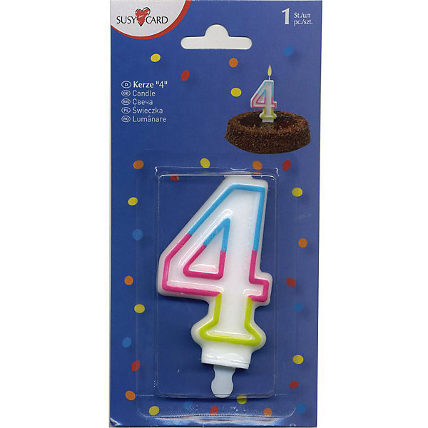 Свеча-цифра 4, 1 шт.Детские свечи для торта<br>Свеча-цифра для торта Susy Card   в виде цифры 4. Изготовлена из высококачественного парафина .Предназначена для декорирования торта к празднику. Можно комбинировать с другими цифрами. Изделие хорошо и долго горит.<br><br>Ширина мм: 10<br>Глубина мм: 45<br>Высота мм: 75<br>Вес г: 28<br>Возраст от месяцев: 36<br>Возраст до месяцев: 2147483647<br>Пол: Унисекс<br>Возраст: Детский<br>SKU: 7139131