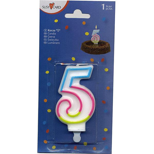 Свеча-цифра 5, 1 шт.Детские свечи для торта<br>Свеча-цифра для торта Susy Card   в виде цифры 5. Изготовлена из высококачественного парафина .Предназначена для декорирования торта к празднику. Можно комбинировать с другими цифрами. Изделие хорошо и долго горит.<br><br>Ширина мм: 10<br>Глубина мм: 45<br>Высота мм: 75<br>Вес г: 28<br>Возраст от месяцев: 36<br>Возраст до месяцев: 2147483647<br>Пол: Унисекс<br>Возраст: Детский<br>SKU: 7139132