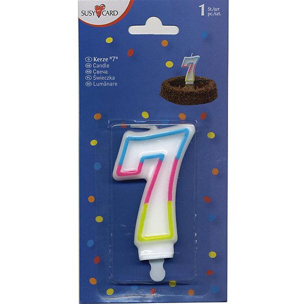 Свеча-цифра 7, 1 шт.Детские свечи для торта<br>Свеча-цифра для торта Susy Card   в виде цифры 7. Изготовлена из высококачественного парафина .Предназначена для декорирования торта к празднику. Можно комбинировать с другими цифрами. Изделие хорошо и долго горит.<br>Ширина мм: 10; Глубина мм: 45; Высота мм: 75; Вес г: 28; Возраст от месяцев: 36; Возраст до месяцев: 2147483647; Пол: Унисекс; Возраст: Детский; SKU: 7139134;