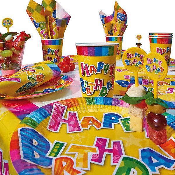 Набор д/пикника Happy Birthday, 31предметДетские наборы одноразовой посуды<br>Набор д/пикника Happy Birthday, 31предмет:                                               -1 скатерть ,<br>- 6 тарелок;<br>- 6 стаканов;<br>- 6 салфеток,<br>- 12 палочки для канапе;<br>Упаковка блистер.<br><br>Ширина мм: 90<br>Глубина мм: 230<br>Высота мм: 425<br>Вес г: 235<br>Возраст от месяцев: 36<br>Возраст до месяцев: 2147483647<br>Пол: Унисекс<br>Возраст: Детский<br>SKU: 7139140