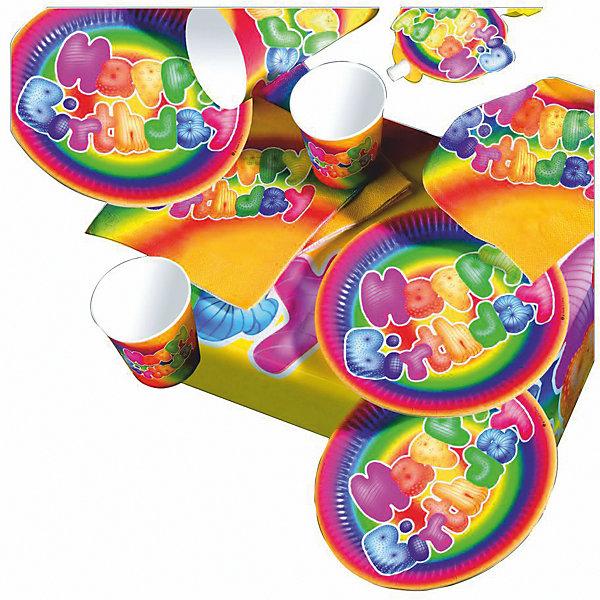 Набор д/пикника Happy Birthday, 31предметДетские наборы одноразовой посуды<br>Набор д/пикника Happy Birthday,  31 предмет:                              - 6 тарелок,                              - 6 стаканов,                                            - 6 язычков,                                  - 6 шапочек,                                              - 6 салфеток,                                         - 1 скатерть <br>Производство Herlitz, Германия<br><br>Ширина мм: 90<br>Глубина мм: 230<br>Высота мм: 425<br>Вес г: 235<br>Возраст от месяцев: 36<br>Возраст до месяцев: 2147483647<br>Пол: Унисекс<br>Возраст: Детский<br>SKU: 7139141
