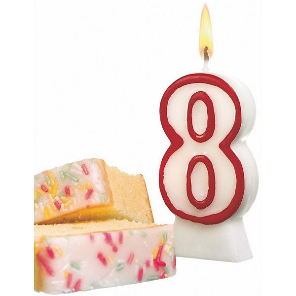 Свеча-цифра 8, асс цв., 8.5см, парафин, блистерНовинки для праздника<br>Свеча-цифра для торта Susy Card   в виде цифры 8. Изготовлена из высококачественного парафина .Предназначена для декорирования торта к празднику. Можно комбинировать с другими цифрами. Изделие хорошо и долго горит.<br><br>Ширина мм: 18<br>Глубина мм: 90<br>Высота мм: 175<br>Вес г: 39<br>Возраст от месяцев: 36<br>Возраст до месяцев: 2147483647<br>Пол: Унисекс<br>Возраст: Детский<br>SKU: 7139152