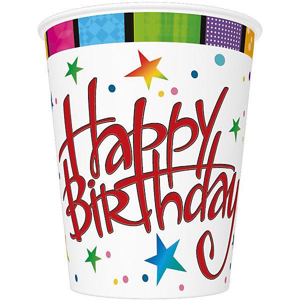 Стаканы Happy Birthday, 250 мл. Материал: картон 210 г/м2Новинки для праздника<br>Набор бумажных стаканов Happy Birthday из 8 шт объемом 250 мл. Материал: картон 210 г/м2<br><br>Ширина мм: 80<br>Глубина мм: 80<br>Высота мм: 90<br>Вес г: 50<br>Возраст от месяцев: 36<br>Возраст до месяцев: 2147483647<br>Пол: Унисекс<br>Возраст: Детский<br>SKU: 7139192