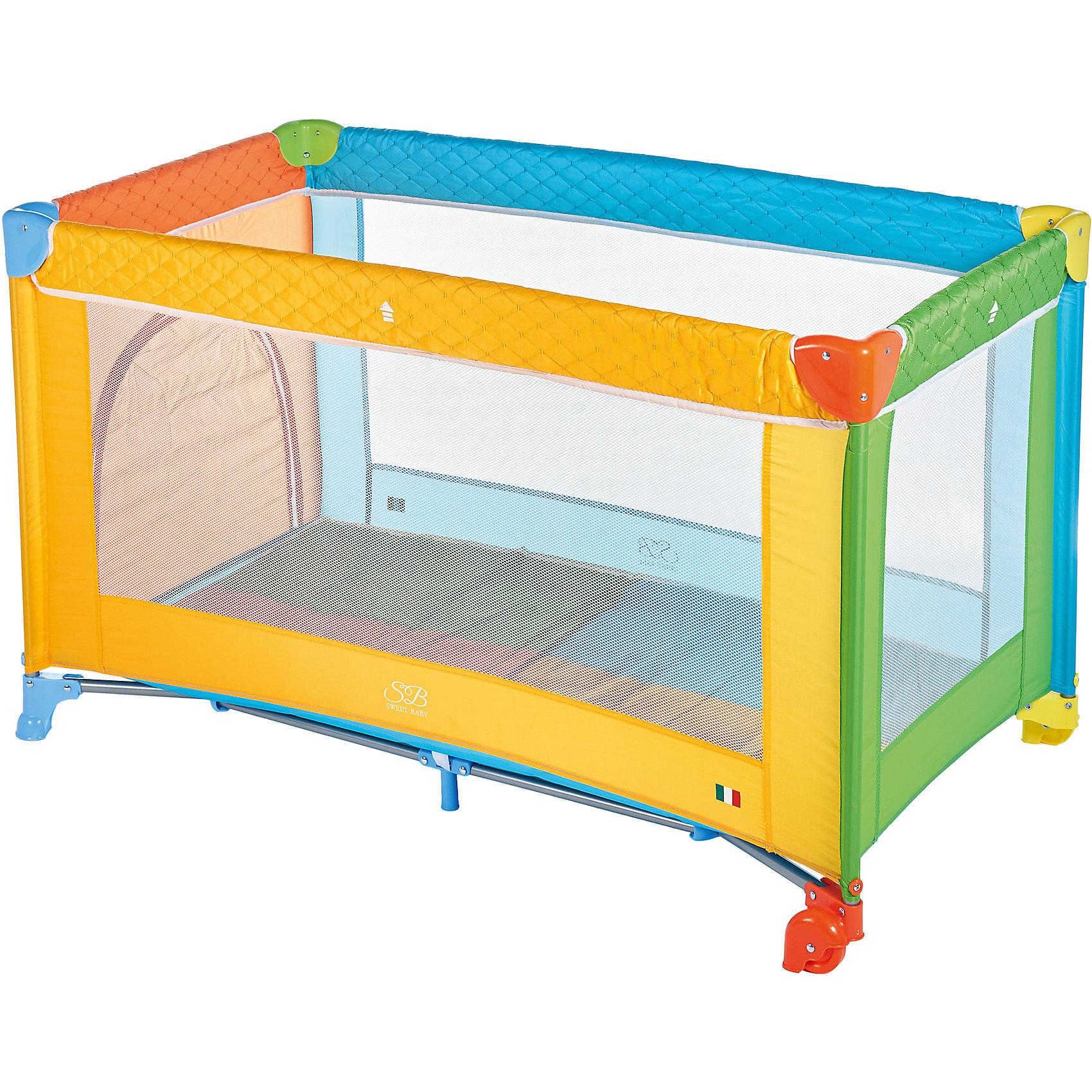 Манеж-кровать Sweet Baby Carnevale, ColoreМанежи-кровати<br>Манеж-кровать Sweet Baby Carnevale, Colore<br><br>Характеристики:<br><br>Лаз на молнии<br>Москитная сетка<br>Чехол для переноски манежа в комплекте.<br>Компактный в сложенном виде, легко расскладывается, жесткое дно. Mягкий матрас в комплекте.<br>2 колесика со стоперами для удобного перемещения, дополнительная подставка в центре.<br>Новая безопасная конструкция колеса где стоппером является удлиненная часть крышка колеса. Не требуется нажимать тормоз. Манеж твердо стоит на поверхности. <br><br>Вес 9 кг<br>Размер: 120х60х76 см<br><br>Ширина мм: 100<br>Глубина мм: 60<br>Высота мм: 76<br>Вес г: 10000<br>Возраст от месяцев: 0<br>Возраст до месяцев: 36<br>Пол: Унисекс<br>Возраст: Детский<br>SKU: 7140466