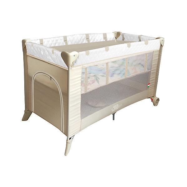 Манеж-кровать Sweet Baby Intelletto 5 в 1, CremaМанежи-кровати<br>Манеж-кровать Sweet Baby Intelletto 5 в 1, Crema<br><br>1. Кровать для новорожденного малыша (2-й уровень дна)<br>2. Кровать для подросшего ребенка<br>3. Манеж<br>4. Развивающий матрасик для малыша в манеже<br>5. Развивающий матрасик в качестве игрового коврика для подросшего ребенка.<br><br>Характеристики:<br><br>Развивающий коврик в виде матрасика.<br>2 уровня положения дна<br>Лаз на молнии<br>Москитная сетка<br>Чехол для переноски манежа в комплекте.<br>Компактный в сложенном виде, легко расскладывается, жесткое дно. Mягкий матрас в комплекте.<br>2 колесика со стоперами для удобного перемещения, дополнительная подставка в центре.<br><br>Вес 9 кг<br>Размер: 120х60х76 см<br><br>Ширина мм: 60<br>Глубина мм: 120<br>Высота мм: 76<br>Вес г: 10600<br>Возраст от месяцев: 0<br>Возраст до месяцев: 36<br>Пол: Унисекс<br>Возраст: Детский<br>SKU: 7140468