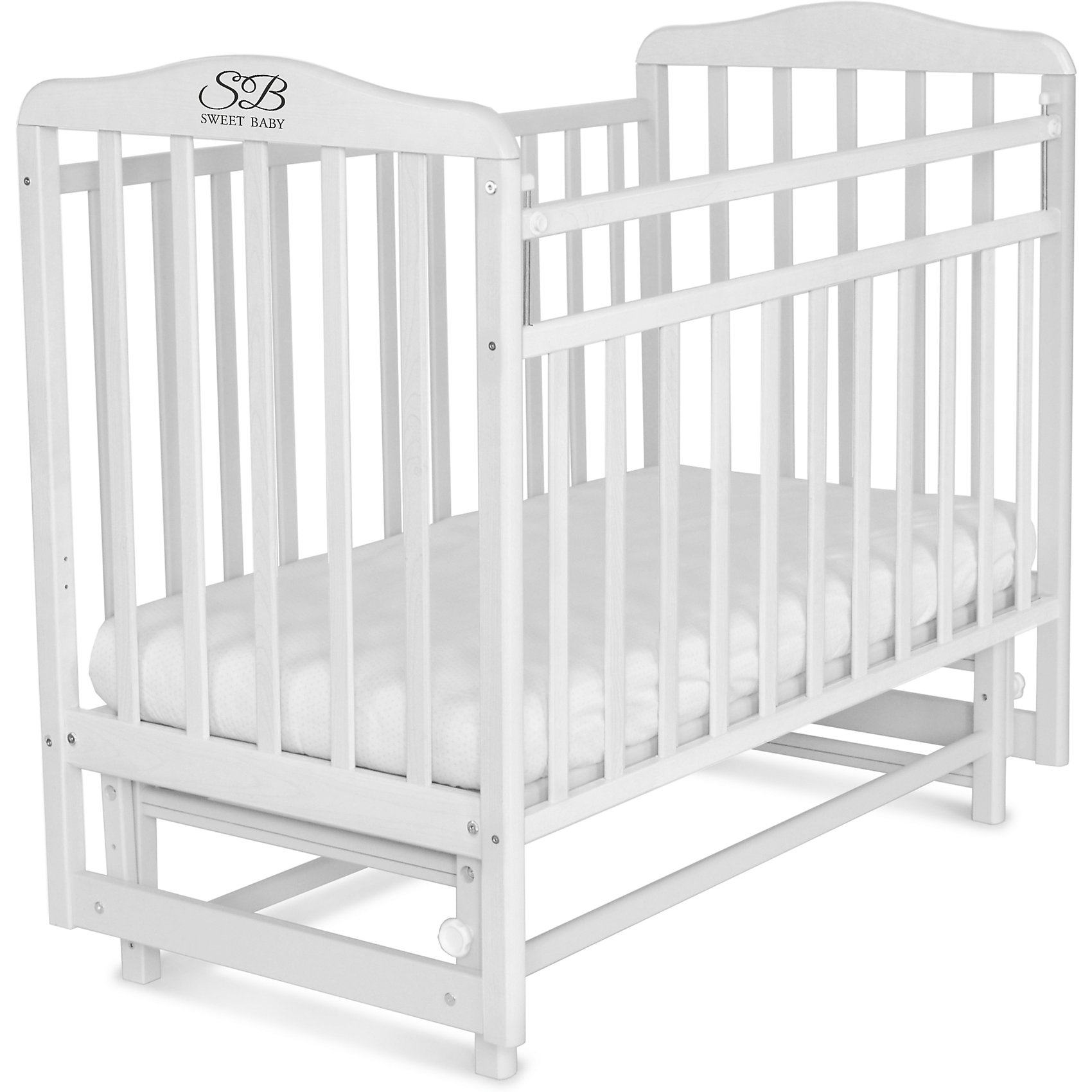Кроватка Sweet Baby Ennio Bianco, белыйКроватки с маятником<br>Кроватка Sweet Baby Ennio Bianco, белый<br><br>Материалы: кровать - массив березы, ЛДСП<br>Качалка: есть<br>Ложе: двухуровневое (1200х600 мм)<br>Маятник поперечный: есть<br>Опускаемая планка<br>Механизм опускания: кнопка<br>Накладка ПВХ: нет<br><br>Ширина мм: 15<br>Глубина мм: 72<br>Высота мм: 124<br>Вес г: 20000<br>Возраст от месяцев: 0<br>Возраст до месяцев: 36<br>Пол: Унисекс<br>Возраст: Детский<br>SKU: 7140474