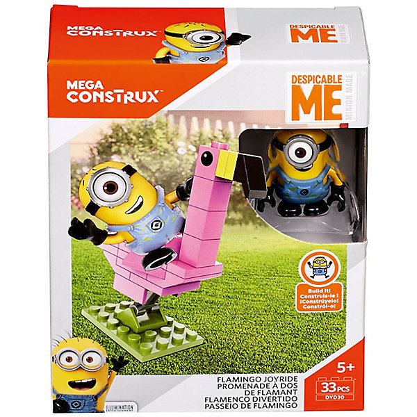 Конструктор Mattel Mega Construx Миньоны Катание на фламинго, 33 деталиПластмассовые конструкторы<br>Характеристики товара: <br><br>• возраст: от 5 лет;<br>• материал: пластик;<br>• в комплекте: фигурка, 33 детали;<br>• размер упаковки: 12х10х4,5 см;<br>• вес упаковки: 59 гр.;<br>• страна производитель: Китай.<br><br>Конструктор Mega Bloks «Миньоны: Катание на фламинго» создан по мотивам известных мультфильмов «Гадкий Я» и «Миньоны». Миньоны — милые желтые существа, постоянно попадающие в забавные ситуации. В наборе представлены детали для сборки фламинго. Благодаря шарнирному механизму фламинго раскачивается вперед и назад. Фигурку миньона можно посадить на птицу сверху.<br><br>Конструктор Mega Bloks «Миньоны: Катание на фламинго» можно приобрести в нашем интернет-магазине.<br><br>Ширина мм: 45<br>Глубина мм: 100<br>Высота мм: 120<br>Вес г: 59<br>Возраст от месяцев: 60<br>Возраст до месяцев: 108<br>Пол: Унисекс<br>Возраст: Детский<br>SKU: 7140491