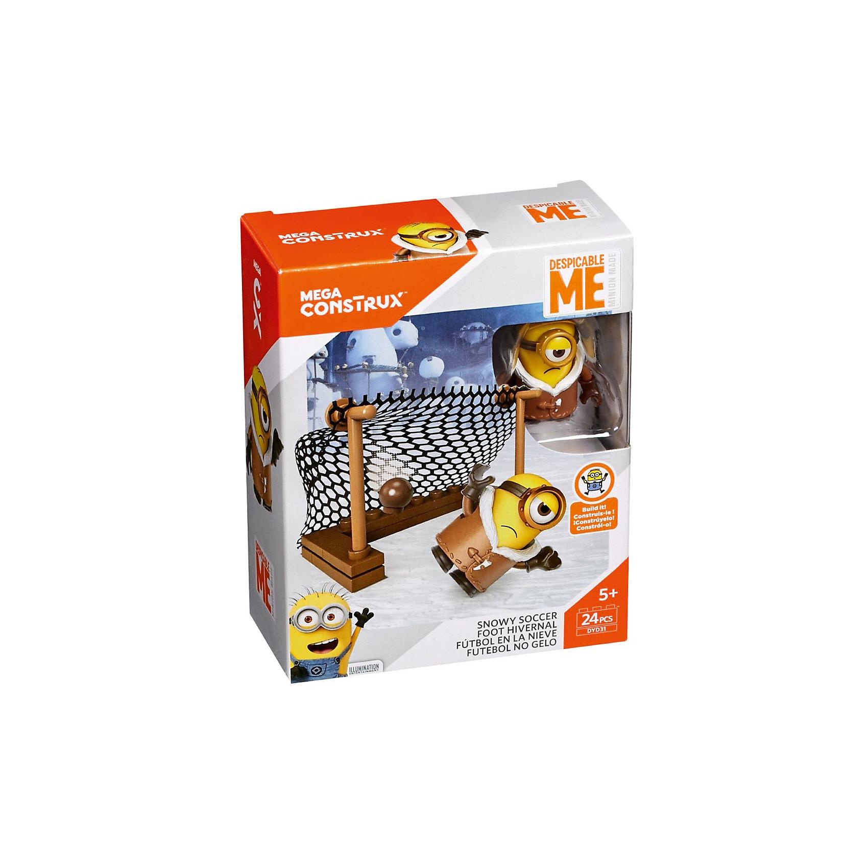 Конструктор Mattel Mega Construx Миньоны Снежный футбол, 24 деталиПластмассовые конструкторы<br><br><br>Ширина мм: 45<br>Глубина мм: 100<br>Высота мм: 120<br>Вес г: 59<br>Возраст от месяцев: 60<br>Возраст до месяцев: 108<br>Пол: Унисекс<br>Возраст: Детский<br>SKU: 7140492