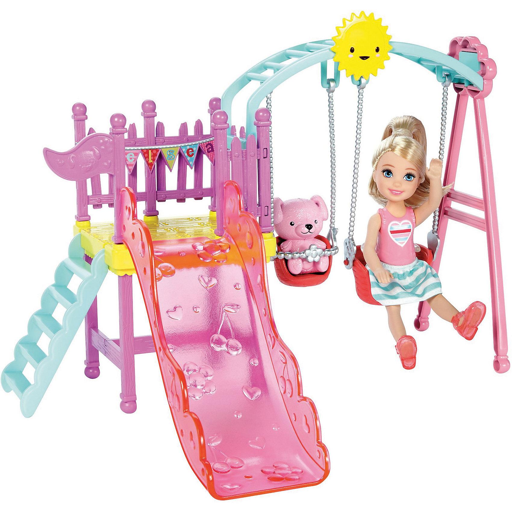 Набор с мини-куклой Mattel Barbie Развлечения Челси На детской площадке, 12 смКуклы<br><br><br>Ширина мм: 265<br>Глубина мм: 85<br>Высота мм: 250<br>Вес г: 509<br>Возраст от месяцев: 36<br>Возраст до месяцев: 120<br>Пол: Женский<br>Возраст: Детский<br>SKU: 7140495