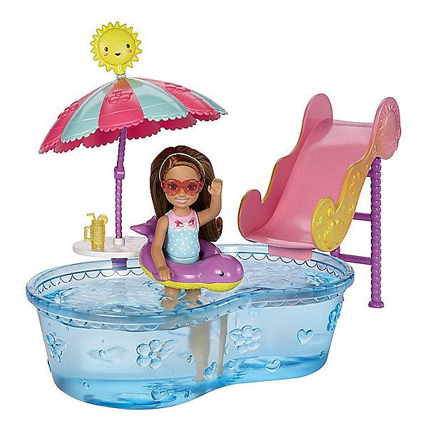 Набор с мини-куклой Mattel Barbie Развлечения Челси В бассейне, 12 см