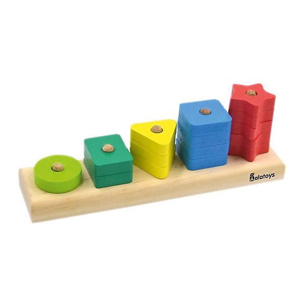 Деревянная пирамидка Alatoys Счеты геометрические фигуры, 15 деталейДеревянные игрушки<br>Характеристики:<br><br>• возраст: от 3 лет<br>• комплектация: основание, 15 геометрических фигурок<br>• материал: дерево<br>• упаковка: пленка<br>• размер упаковки: 9х24х6 см.<br>• страна бренда: Россия<br><br>Пирамидка «Счеты геометрические фигуры» - правильная игрушка, которая должна быть у каждого малыша.<br><br>Основа пирамидки - это платформа с колышками разной длины, на которые нанизываются детали в виде геометрических фигур 5 видов (круг, 2 прямоугольника, 3 треугольника, 4 квадрата, 5 звездочек).<br><br>Пирамидка выполнена из дерева.  Детали пирамидки окрашены в яркие цвета, тщательно отшлифованы и покрашены безопасными красками.<br><br>Играя с пирамидкой, ребенок разовьет мелкую моторику рук, логическое мышление, начальные навыки счета, внимание.<br><br>Пирамидку ALATOYS ПСЧ4002 Счеты геометрические фигуры 15 дет. можно купить в нашем интернет-магазине.<br>Ширина мм: 85; Глубина мм: 240; Высота мм: 60; Вес г: 364; Возраст от месяцев: 36; Возраст до месяцев: 2147483647; Пол: Унисекс; Возраст: Детский; SKU: 7140510;
